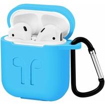 Apple Airpods Hoesje - Siliconen Airpods Hoes met Karabijnhaak - Case voor Airpods 1/2 - Licht Blauw