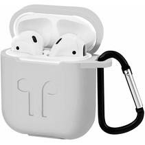 Apple Airpods Hoesje - Siliconen Airpods Hoes met Karabijnhaak - Case voor Airpods 1/2 - Wit