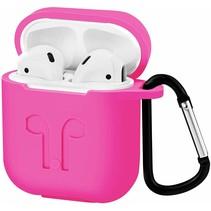 Apple Airpods Hoesje - Siliconen Airpods Hoes met Karabijnhaak - Case voor Airpods 1/2 - Magenta