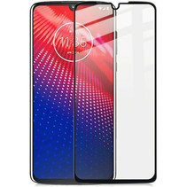 Motorola Moto E6 Plus - Full Cover Screenprotector - Gehard Glas - Zwart