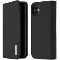 iPhone 11 hoes - Wish Series Lederen Book Case - Zwart