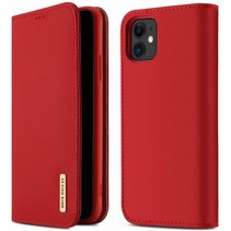 iPhone 11 hoes - Wish Series Lederen Book Case - Rood