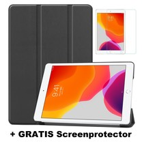 iPad 10.2 Inch 2019 / 2020 hoes - Tri-Fold Book Case + Screenprotector - Zwart