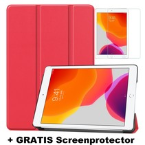 iPad 10.2 Inch (2019) hoes - Tri-Fold Book Case + Screenprotector - Rood