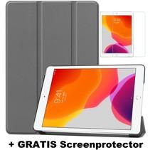 iPad 10.2 Inch 2019 / 2020 hoes - Tri-Fold Book Case + Screenprotector - Grijs