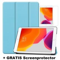 iPad 10.2 Inch 2019 / 2020 hoes - Tri-Fold Book Case + Screenprotector - Licht Blauw
