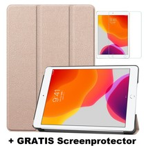 iPad 10.2 Inch (2019) hoes - Tri-Fold Book Case + Screenprotector - Goud