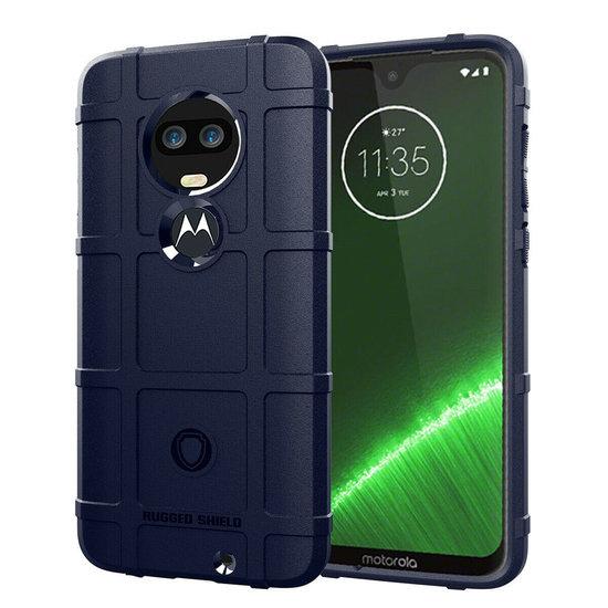 Case2go Motorola Moto G7 Plus hoes - Heavy Armor TPU Bumper - Blauw