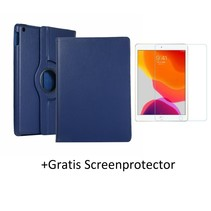 iPad 10.2 inch 2019 / 2020 hoes - Draaibare Book Case + Screenprotector - Donker Blauw