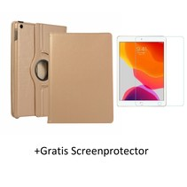 iPad 10.2 inch 2019 / 2020 hoes - Draaibare Book Case + Screenprotector - Goud