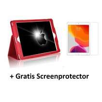 iPad 10.2 inch 2019 / 2020 hoes - Flip Cover + Screenprotector - Rood