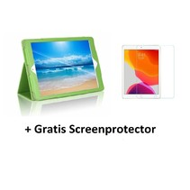 iPad 10.2 inch 2019 / 2020 hoes - Flip Cover + Screenprotector - Groen