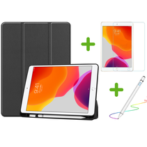 iPad 10.2 inch (2019) hoes - Active Stylus Pen - Screenprotector - Zwart