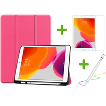 iPad 10.2 inch (2019) hoes - Active Stylus Pen - Screenprotector - Magenta