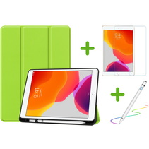 iPad 10.2 inch (2019) hoes - Active Stylus Pen - Screenprotector - Groen