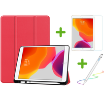 iPad 10.2 inch 2019 / 2020 / 2021 hoes - Active Stylus Pen - Screenprotector - Rood