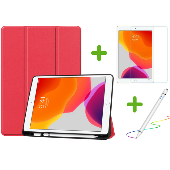 Case2go iPad 10.2 inch (2019) hoes - Active Stylus Pen - Screenprotector - Rood