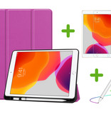 Case2go iPad 10.2 inch (2019) hoes - Active Stylus Pen - Screenprotector - Paars