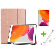 iPad 10.2 inch (2019) hoes - Active Stylus Pen - Screenprotector - Rosé Gold