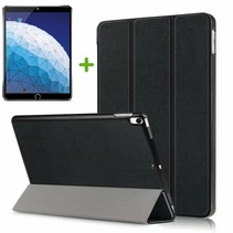 iPad Air 10.5 (2019) hoesje - Tri-Fold Book Case + Screenprotector - Zwart