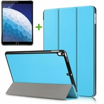 iPad Air 10.5 (2019) hoesje - Tri-Fold Book Case + Screenprotector - Licht Blauw