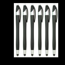 6 Stuks - Stylus Pen voor tablet en smartphone - Met Penfunctie - Touch Pen - Voorzien van clip - Zwart
