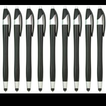 9 Stuks - Stylus Pen voor tablet en smartphone - Met Penfunctie - Touch Pen - Voorzien van clip - Zwart