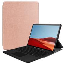 Microsoft Surface Pro X hoes - Tri-Fold Book Case - Rosé Goud