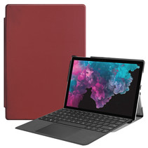 Microsoft Surface Pro 7 hoes - Tri-Fold Book Case - Donker Rood
