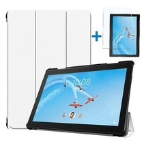 Lenovo Tab P10 Hoes - Tri-Fold Book Case + Screenprotector - Wit