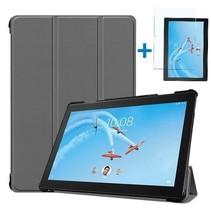 Lenovo Tab P10 Hoes - Tri-Fold Book Case + Screenprotector - Grijs