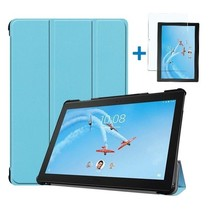 Lenovo Tab P10 Hoes - Tri-Fold Book Case + Screenprotector - Licht Blauw