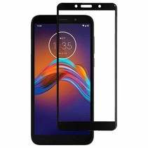 Motorola Moto E6 Play - Full Cover Screenprotector - Gehard Glas - Zwart