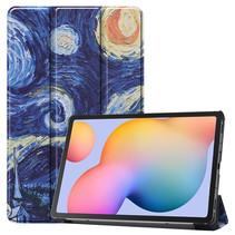 Samsung Galaxy Tab S6 Lite hoes  - Tri-Fold Book Case - Sterrenhemel