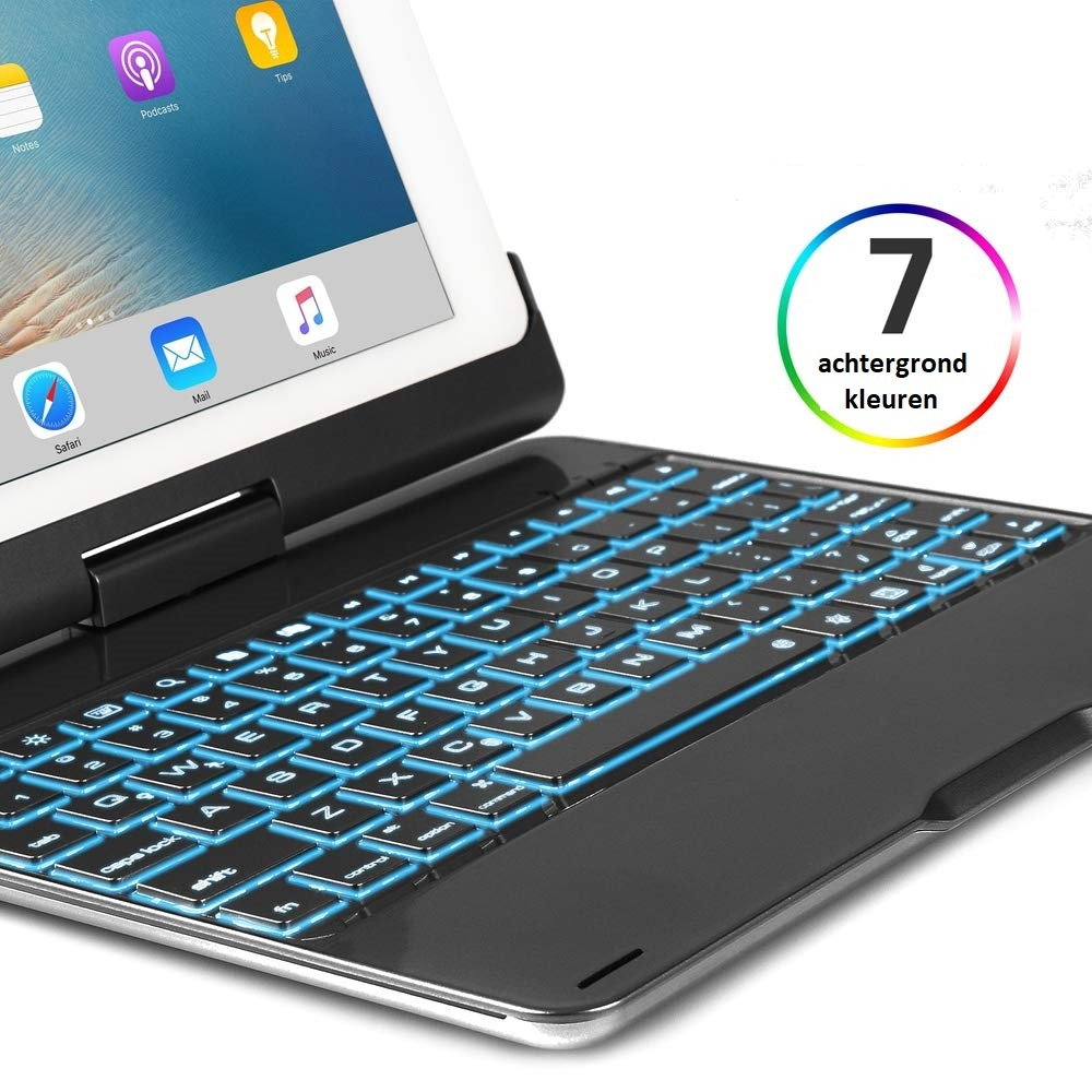 iPad 9.7 (20172018) Case Bluetooth toetsenbord hoes 360 graden draaibaar Met toetsenbord verlichting Zwart