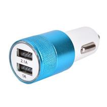 Autolader USB - 2 USB Poorten Auto Oplader - Wit/Blauw