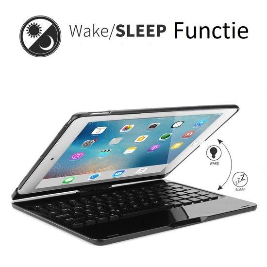 Case2go iPad 10.2 2019 / 2020 case - Bluetooth Toetsenbord hoes - 360 graden draaibaar - met Toetsenbord Verlichting - Zwart