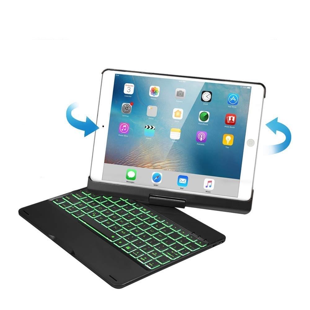iPad 10.2 2019 2020 case Bluetooth Toetsenbord hoes 360 graden draaibaar met Toetsenbord Verlichting Zwart