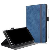 Universele 7/8 inch tablet hoes - Wallet Book Case - Donker Blauw