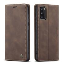 CaseMe - Samsung Galaxy S20 hoesje - Wallet Book Case - Magneetsluiting - Donker Bruin