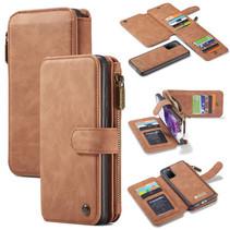 CaseMe - Samsung Galaxy S20 hoesje - Wallet Book Case met Ritssluiting - Bruin