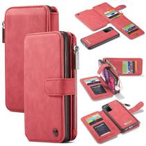 CaseMe - Samsung Galaxy S20 hoesje - Wallet Book Case met Ritssluiting - Rood