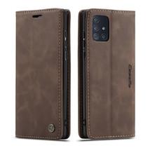CaseMe - Samsung Galaxy A71 hoesje - Wallet Book Case - Magneetsluiting - Donker Bruin