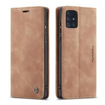 CaseMe - Samsung Galaxy A71 hoesje - Wallet Book Case - Magneetsluiting - Licht Bruin