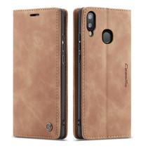 CaseMe - Samsung Galaxy A20e hoesje - Wallet Book Case - Magneetsluiting - Licht Bruin