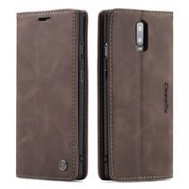 CaseMe - OnePlus 7 hoesje - Wallet Book Case - Magneetsluiting - Donker Bruin