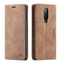 CaseMe - OnePlus 8 hoesje - Wallet Book Case - Magneetsluiting - Licht Bruin