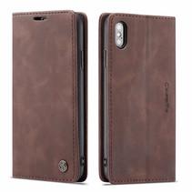 CaseMe - iPhone X/XS hoesje - Wallet Book Case - Magneetsluiting - Donker Bruin