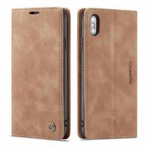 CaseMe - iPhone X/XS hoesje - Wallet Book Case - Magneetsluiting - Licht Bruin