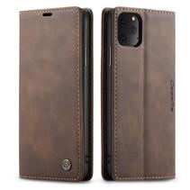 CaseMe - iPhone 11 Pro Max hoesje - Wallet Book Case - Magneetsluiting - Donker Bruin